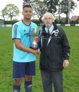 Brian Lester presents the Lester Charity cup to Aaron Lloyd of Dynamo Dudley